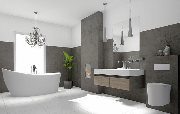 Großes Badezimmer mit Badewanne und Waschbecken